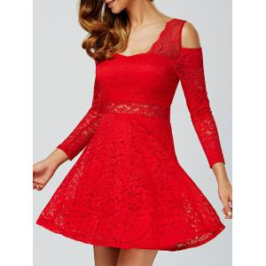 Cold Shoulder See Through Long Sleeve Lace Skater Mini Dress