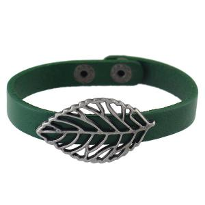 Filigree Leaf Faux Leather Bracelet