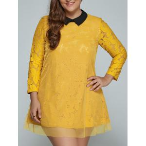 Plus Size Mini Lace Long Sleeve Dress - Yellow - 2xl