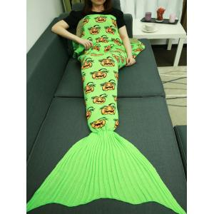 Halloween Pumpkin Pattern Knitted Wrap Mermaid Tail Blanket - Turquoise - W31.50inch*l70.70inch