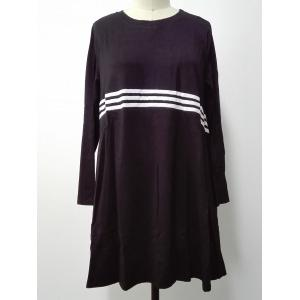 Long Sleeves Striped Print Dress - Black - One Size