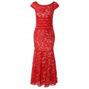 Tight Lace Fitted Maxi Prom Evening Dress - Red - M