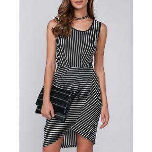 Asymmetric Sleeveless Striped Bodycon Dress