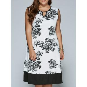 Sleeveless Cut Out Plus Size Print Dress