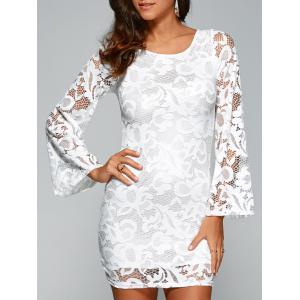 Round Neck Flare Sleeve Lace-Up Lace Sheath Dress - White - M