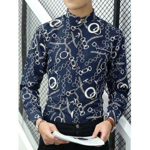 Button-Down Chain Print Long Sleeve Shirt