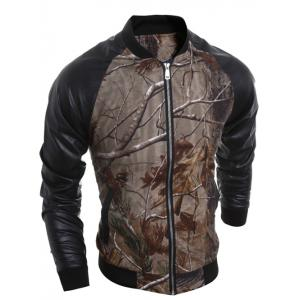 3D Print Raglan Sleeve PU Spliced Jacket