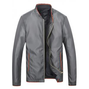 Brief Style Stand Collar Slim-Fit Jacket