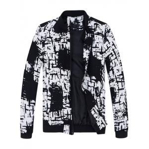 Stand Collar All-Over Abstract Print Jacket