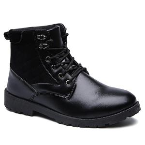 Suede Spliced Tie Up PU Leather Vintage Boots - Black - 40