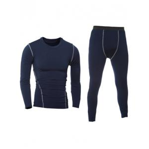Quick-Dry Long Sleeve T-Shirt + Skinny Gym Pants Twinset - Cadetblue - M