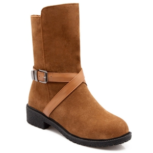 Buckle Cross-Strap Suede Boots