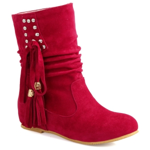 Ruched Rivet Tassel Boots