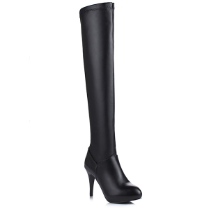Stiletto Heel PU Leather Thigh Boots