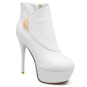 Metal Stiletto Heel Platform Ankle Boots - White - 38