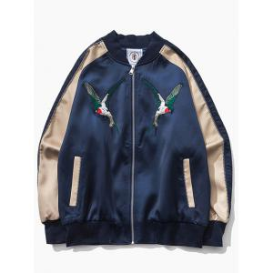 Raglan Sleeve Bird Embroidered Souvenir Jacket