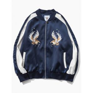 Raglan Sleeve Eagle Embroidered Souvenir Jacket