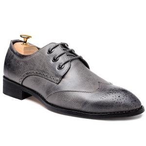 Pointed Toe Tie Up Engraving Formal Shoes - Gray - 40