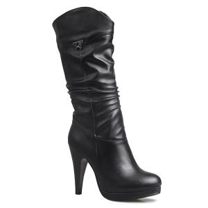 High Heel Ruched Mid Calf Boots - Black - 38