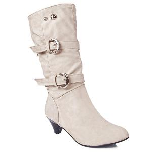 Metallic Slip On Buckle Suede Mid Calf Boots