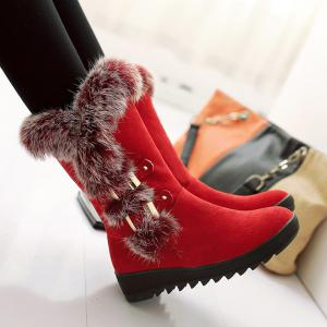 Slip On Buckle Embellished Fur Mid Calf Boots - Red - 39