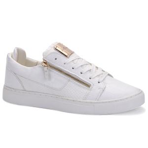 Round Toe Zip Embellished Crocodile Embossed Casual Shoes - White - 42