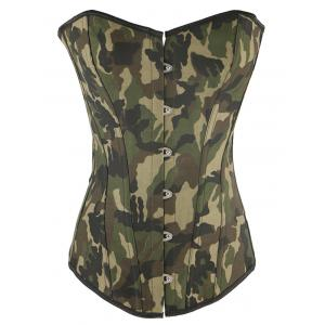Camo Lace Up Steel Boned Strapless Corset Top - Camouflage - Xl