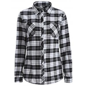 Lace Panel Long Sleeve Skull Gingham Plaid Shirt - WHITE AND BLACK 4XL