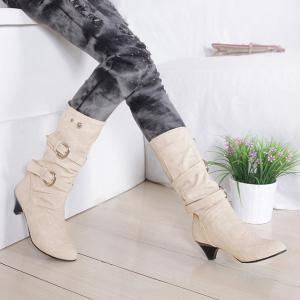 Metallic Slip On Buckle Suede Mid Calf Boots - OFF WHITE 40