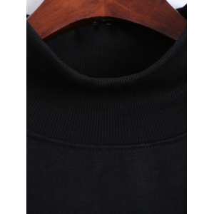 Turtle Neck Patch Sweatshirt - BLACK ONE SIZE