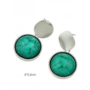 Faux Gem Circle Sequin Earrings - SILVER