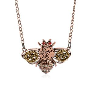Rhinestone Micro Gear Honeybee Necklace - Copper Color - M