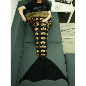 Halloween Pumpkin Plaid Knitted Wrap Mermaid Tail Blanket Throw - BLACK