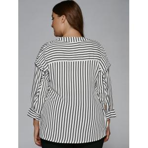 Plus Size Tassel High Low Hem Striped Blouse -