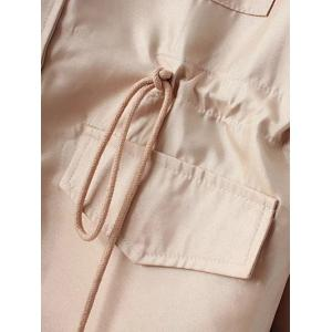 Drawstring Waist Pocket Trench Coat -