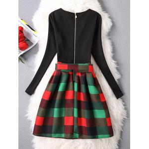 Belted Checked A-Line Dress -