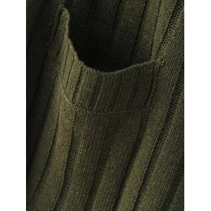 Crew Neck Ribbed Batwing Sweater With Pocket - BLACK ONE SIZE