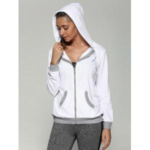 Zip Up Drawstring Hoodie With Pockets - WHITE XL