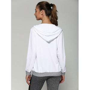 Zip Up Drawstring Hoodie With Pockets - WHITE S