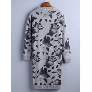 Chinese Painting Pattern Sweater Dress - GRAY ONE SIZE