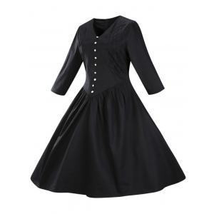 Retro Front Button Flare Tea Length Swing Party Dress - BLACK 3XL