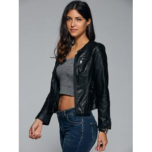 Topstitched Faux Leather Biker Jacket -