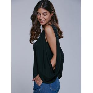 Cold Shoulder Cape Sleeve Blouse -