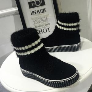 Platform Suede Splice Knitted Sock Boots -