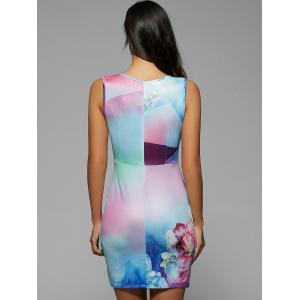 Rainbow Print Sleeveless Bodycon Dress -