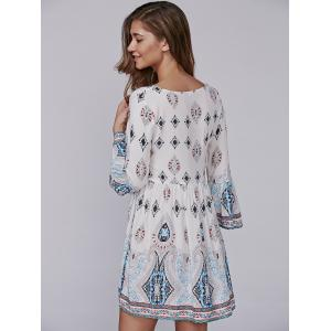 Tribal Print Tasseled Lace-Up Smock Dress -