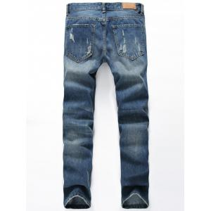 Zipper Fly Appliques Patch Design Distressed Jeans -
