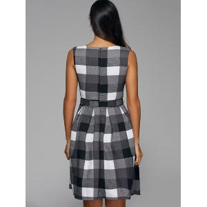 Belted Color Block Plaid Sleeveless Dress -