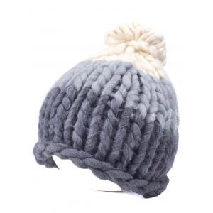 Warm Color Block Coarser Knit Snow Hat -