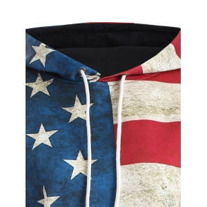 American Flag Print Pullover Hoodie - BLUE/RED 3XL